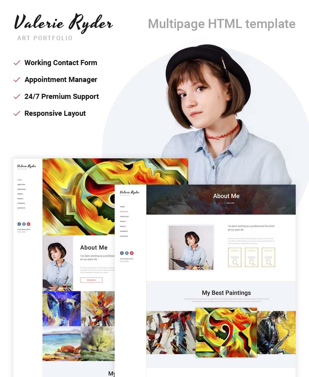 Valerie Ryler – Artist Portfolio Responsive HTML5 Website Template TMT Kendal Aputsiaq