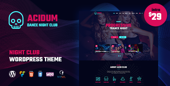 Acidum - Dance Night Club WordPress Theme            TFx Urban Craig