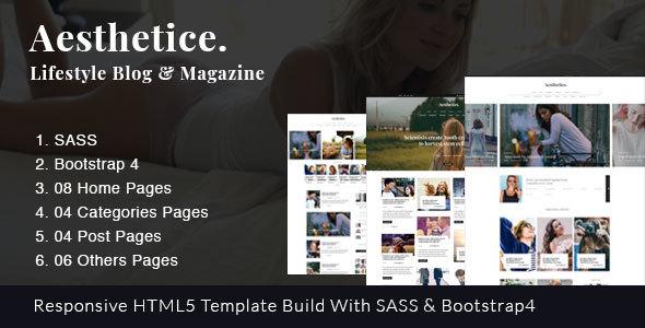 Aesthetics || Lifestyle & Magazine, Bootstrap4, SAAS Template            TFx Emmett Tate