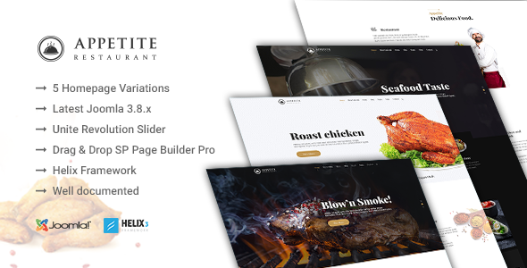 Appetite - Restaurant / Food Service Joomla Template            TFx Carlyle Jasper