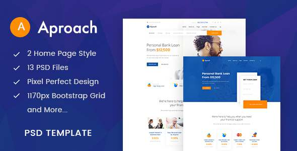 Aproach - Banking & Business Loan PSD Template            TFx Kian Jed