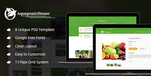 Aquaponic House PSD Template            TFx Mitchell Denzil