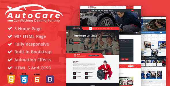 AutoCare: Car Service, Car Washing and Denting and Painting Html Template            TFx Sota Nat