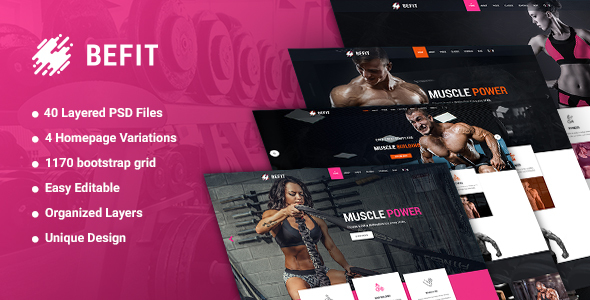 BeFit – Gym & Fitness PSD template            TFx Benedict Vernon