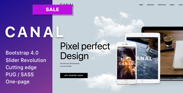 Canal - Single page HTML template for IT startups, businesses, small agencies and individuals            TFx Rolf Bazza