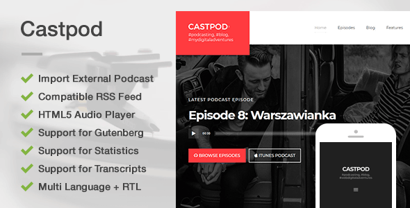 Castpod – A Professional WordPress Theme for Audio Podcasts            TFx Nanook Alvin
