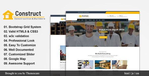 Construct - Construction and Building Website Template            TFx Delbert Terrence