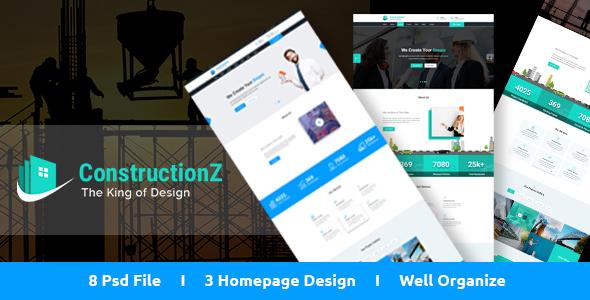ConstructionZ - Construction PSD Template            TFx Austyn Raine