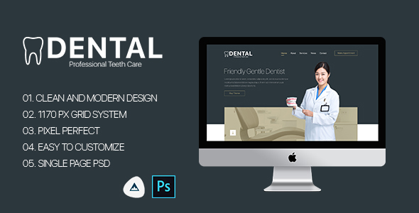 Dental – Single Page Dental PSD Template            TFx Bryce Davie