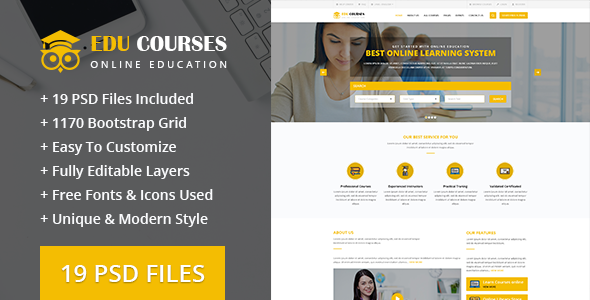 Edu-Courses Online Education PSD Template            TFx Harvie Mahpiya