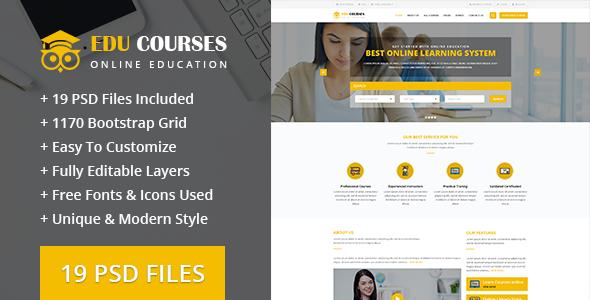 Edu-Courses Online Education PSD Template            TFx Harvie Mahpiya