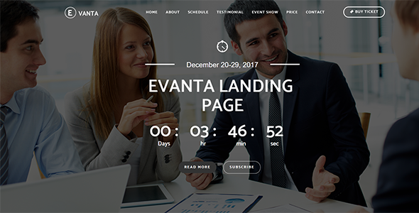 Evanta – Responsive Event Landing Page  (-50%)            TFx Storm Ern