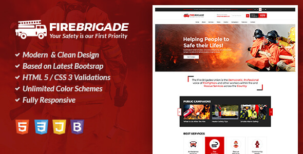 Fire Brigade - Fire Fighting & Rescue Services HTML Site Template            TFx Moacir Everett