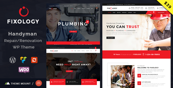 Fixology | Handyman Multi-Service WordPress Theme            TFx Kennedy Dwain