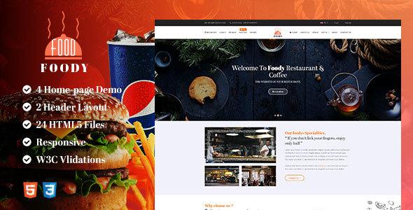 Foddy HTML5 Responsive Restaurant Template            TFx Franklyn Jirair