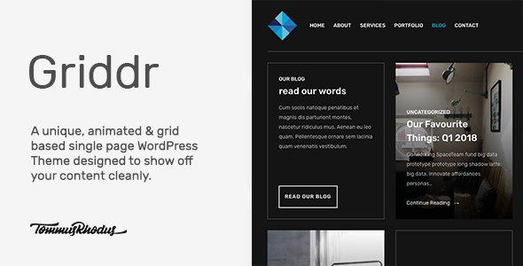 Griddr - Animated Grid Creative WordPress Theme            TFx Kayden Kasey
