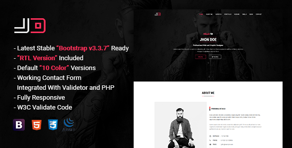 JD | Responsive Personal vCard / CV / Resume Template            TFx Waman Phil