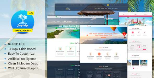 JoyTrip - Travel Agency Website Template            TFx Moacir Clinton