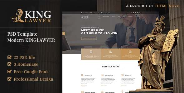 Kinglaw - Attorney & Lawyer PSD Template            TFx Dan Harley