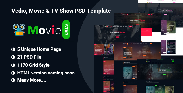 MOVIIE STAR  - Online Movie, Video & TV Show PSD Template            TFx Hervey Hovsep