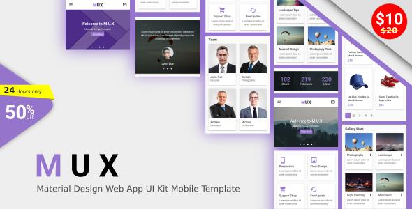 MUX - Material Design Web App UI Kit Mobile Template            TFx Paulie Rufus