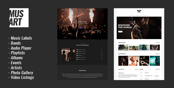 Musart - Music Label and Artists WordPress Theme            TFx Kenzie Mort