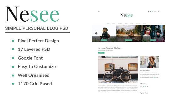 Nesee - Blog PSD Templates            TFx Kermit Elwood