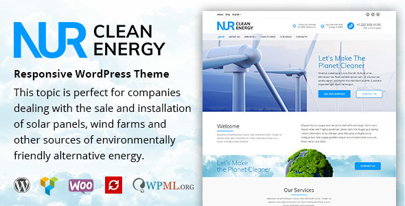 Nur - Alternative & Renewable Energy WordPress Theme            TFx Brooks Paschal