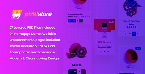Pixelstore - eCommerce PSD Template            TFx Newton Reuben