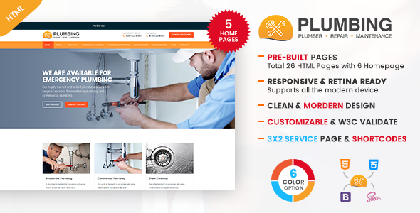 Plumbing – Plumber and Repair Services Template            TFx Ariel Jake