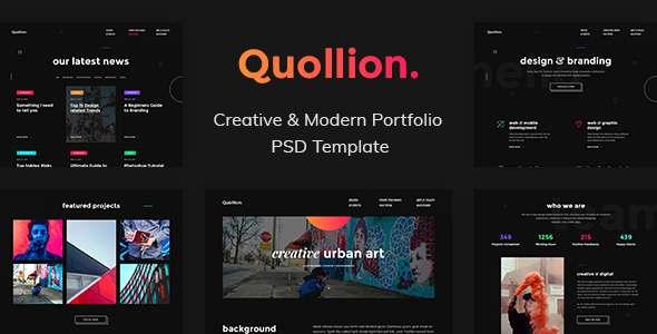 Quollion - Creative & Modern Portfolio PSD Template            TFx Isadore Bret
