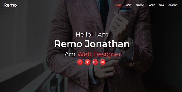 Remo - Personal Portfolio Template            TFx Hamilcar Giles