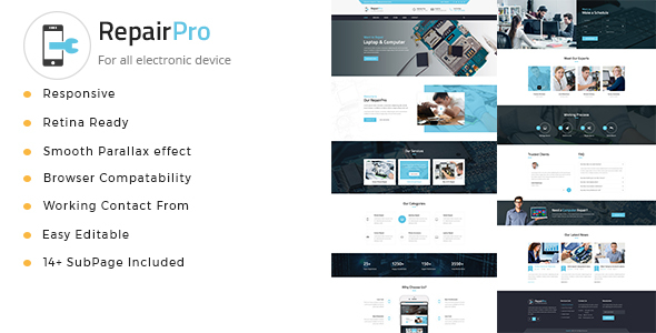 Repair Pro - Computer, Mobile, Electronics and Phone Repair HTML Template            TFx Hugo Rodge