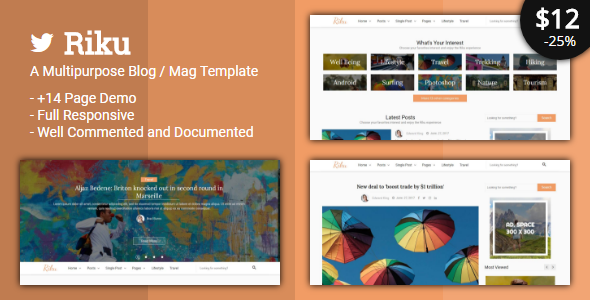 Riku - Multipurpose Blog / Magazine Template            TFx Keegan Blake