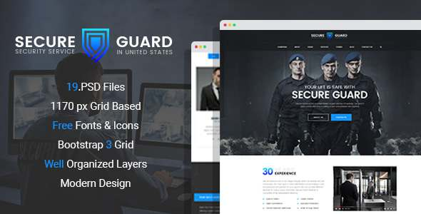 SecureGuard – Security Service PSD Template            TFx Sebastian Zac