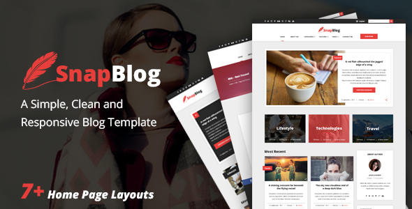 Snap Blog – A Simple & Clean Responsive HTML Blog Template            TFx Yunuen Shuzhab