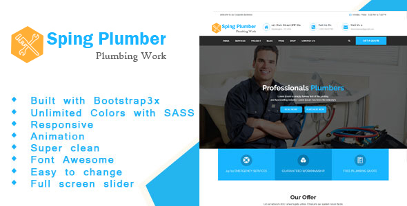 Sping Plumber - Construction and Plumber HTML Template            TFx Elvin Hiram