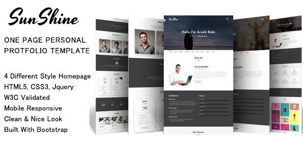 SunShine - one page personal portfolio template            TFx Arden Wilson