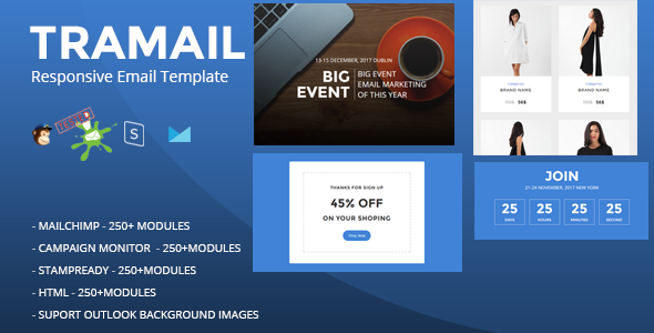 TRAMAIL - Responsive Email Template (250+ Modules) + Stampready Builder            TFx Brand Attila
