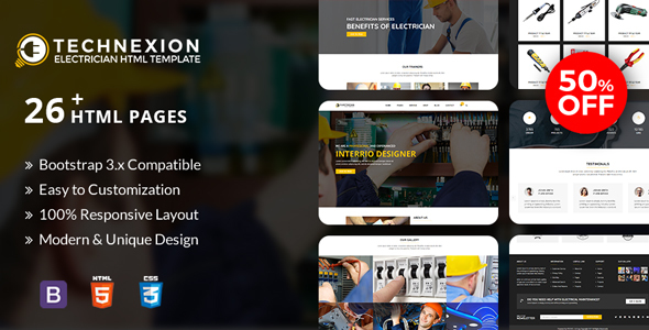 Technexion - Responsive html5 template for Electrical and Electricians            TFx Shichirou Foster