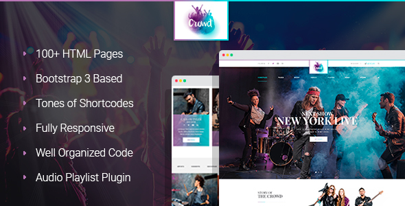 TheCrowd - Rock Band Page HTML Template with Page Builder            TFx Grady Abdullah