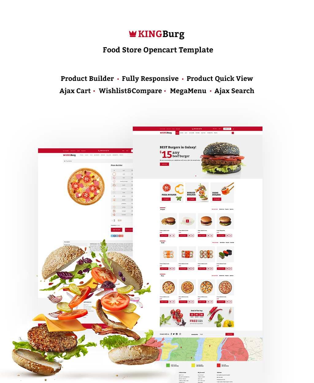 KingBurg – Burger OpenCart Template TMT Ferdy Rollo