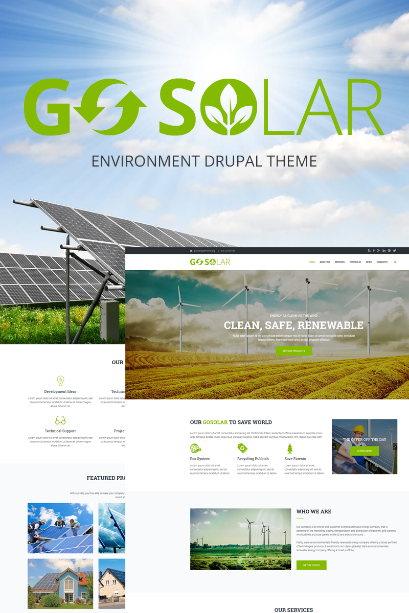 Go Solar - Eco & Nature / Environment Drupal Template TMT Lyndon Headley