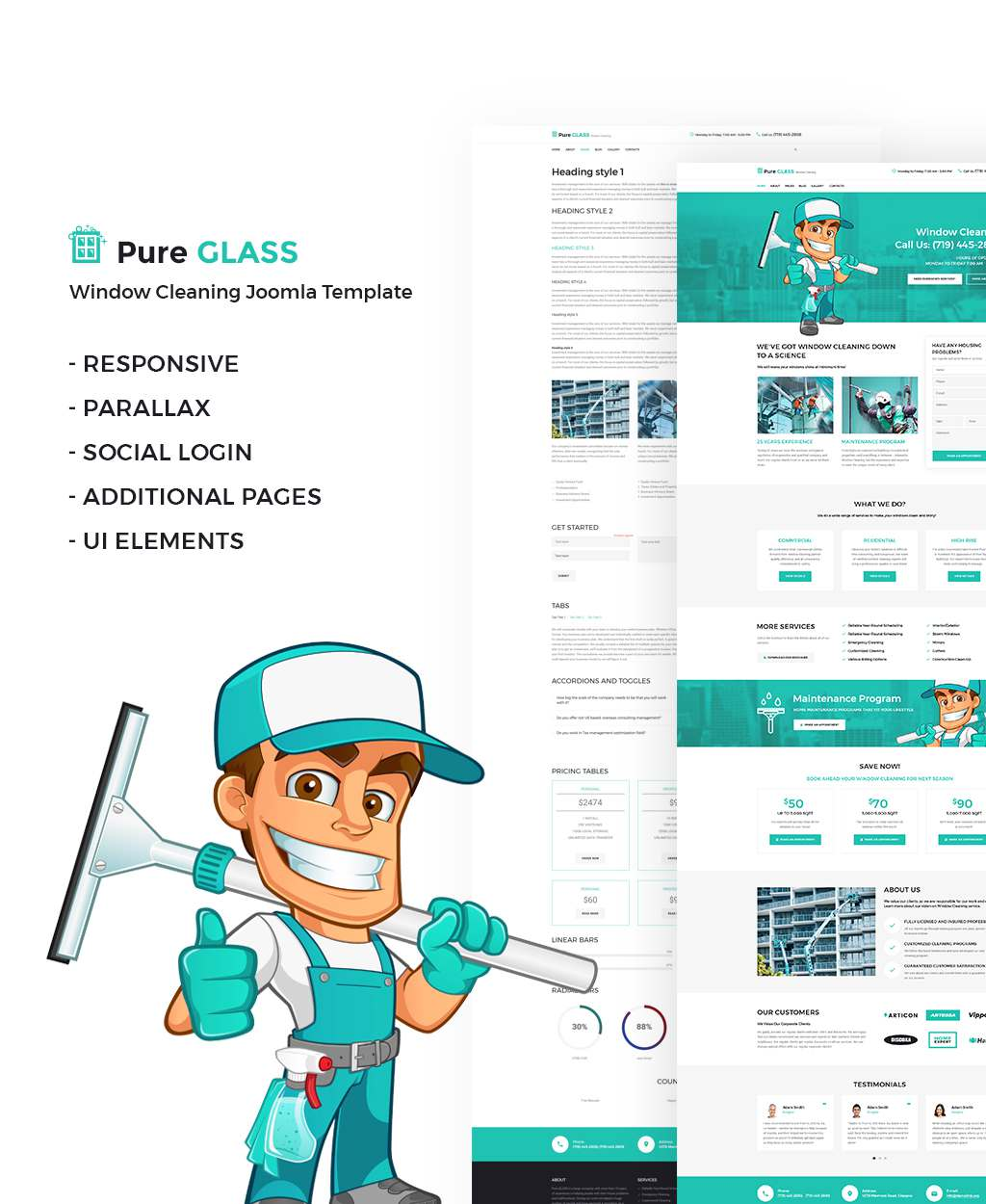 Pure Glass – Window Cleaning Services Joomla Template TMT Truman Jonah