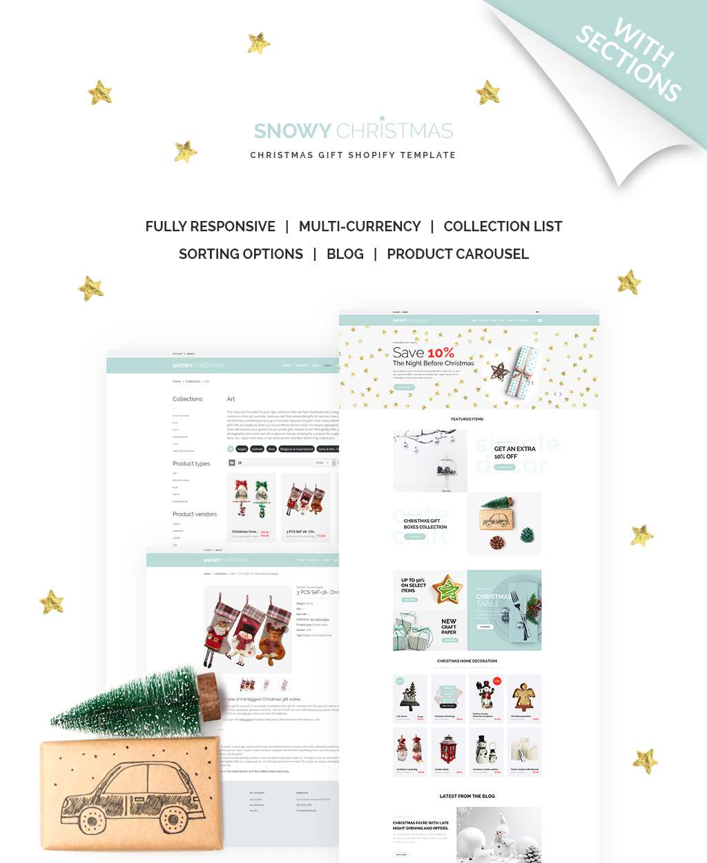 Snowy Christmas - Christmas Gifts Shopify Theme TMT Odell Rob