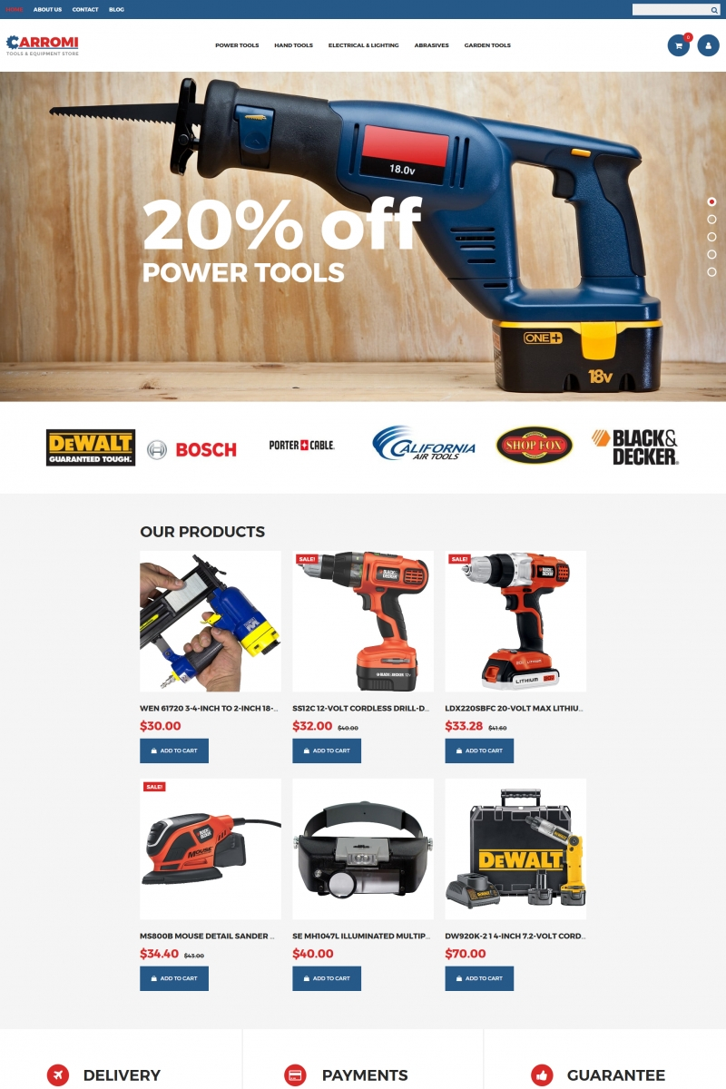 Tools & Equipment Responsive MotoCMS Ecommerce Template TMT Jeremy Karen