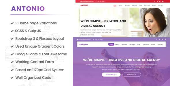 Antonio - One Page, Multipurpose HTML template built for performance            TFx Erick Ulysses