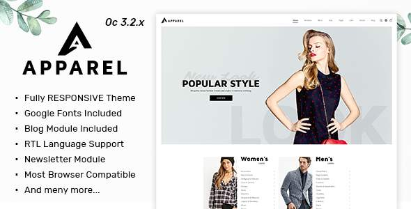 Apparel - Multipurpose Responsive Fashion Opencart 3.x Theme            TFx Jaycob Ike