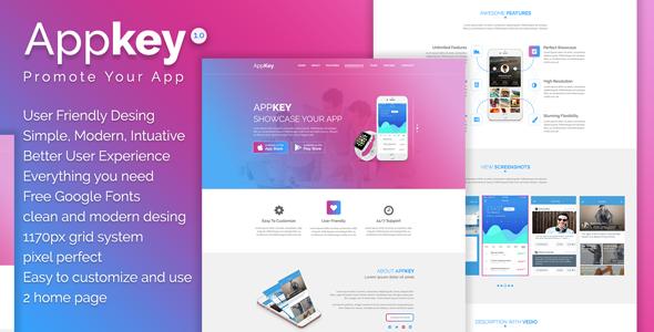 Appkey - App Landing PSD Template            TFx Iskandar Sheard