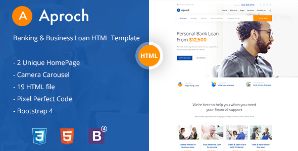 Aproach - Banking & Business Loan Bootstrap-4 HTML Template            TFx Noble Corbin